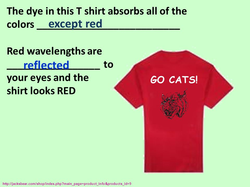 The dye in this T shirt absorbs all of the colors __________________________ Red wavelengths are _________________ to your eyes and the shirt looks RE