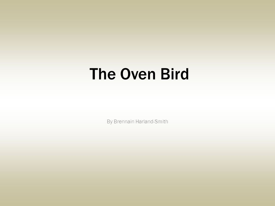 The Oven Bird By Brennain Harland-Smith