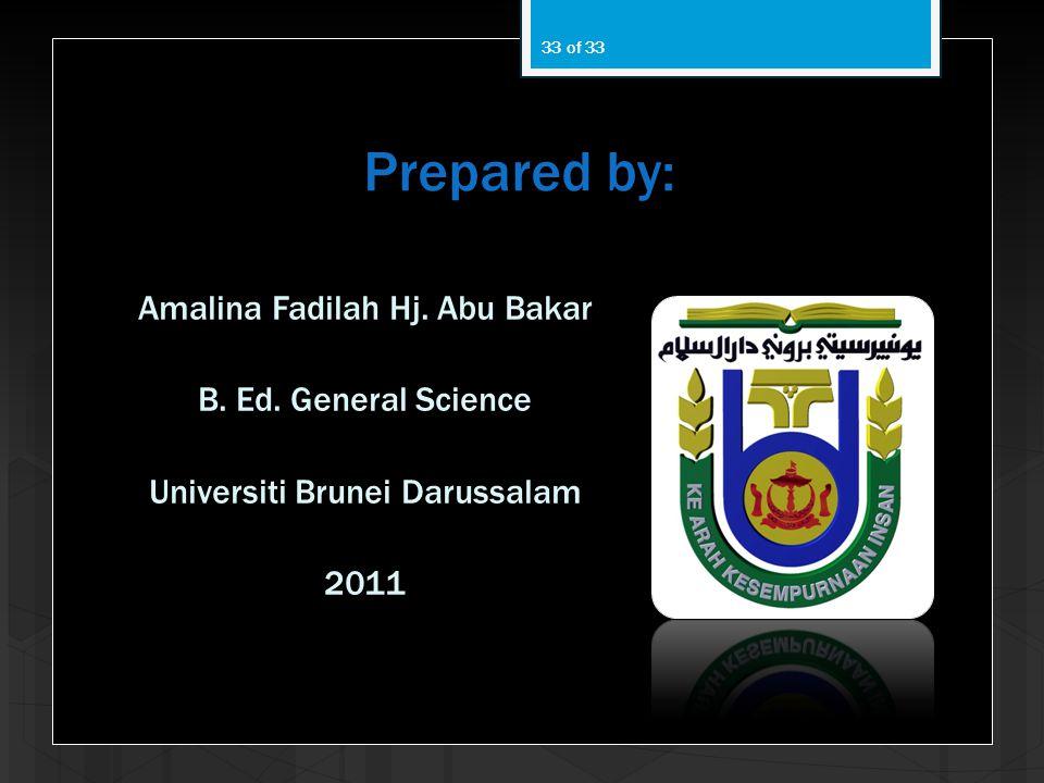 Prepared by: Amalina Fadilah Hj.Abu Bakar B. Ed.