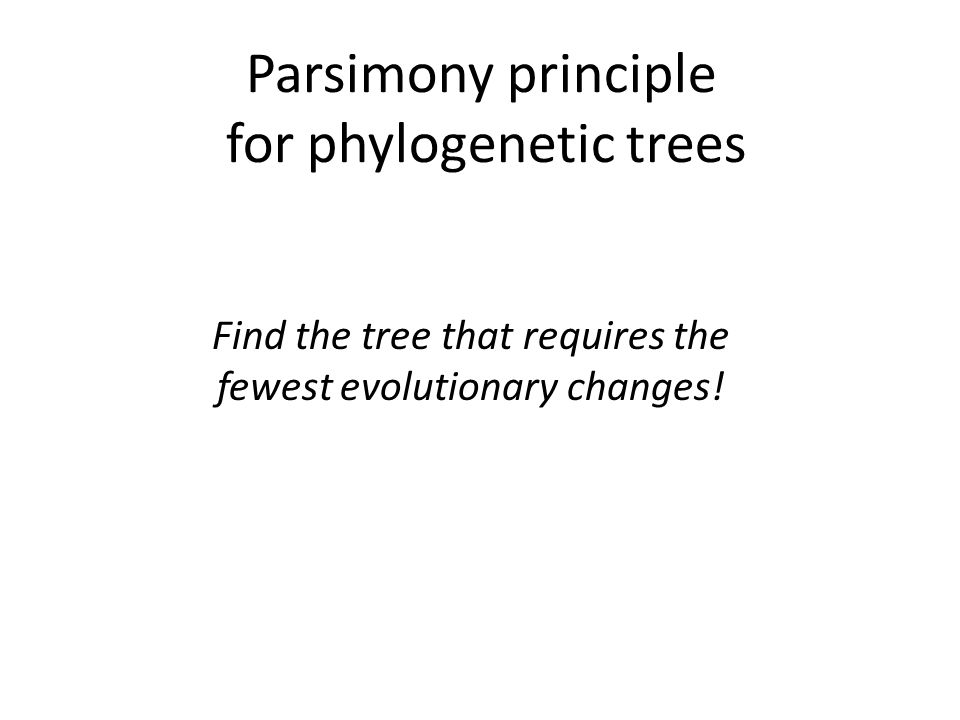 Parsimony principle for phylogenetic trees Find the tree that requires the fewest evolutionary changes!