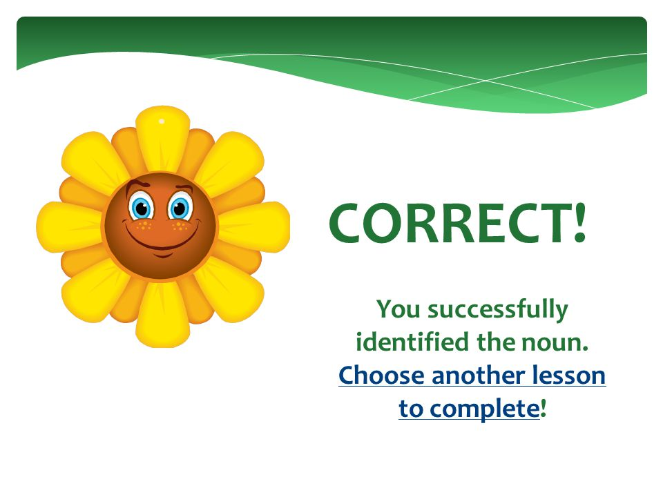 CORRECT! You successfully identified the noun. Proceed to the next question!next question