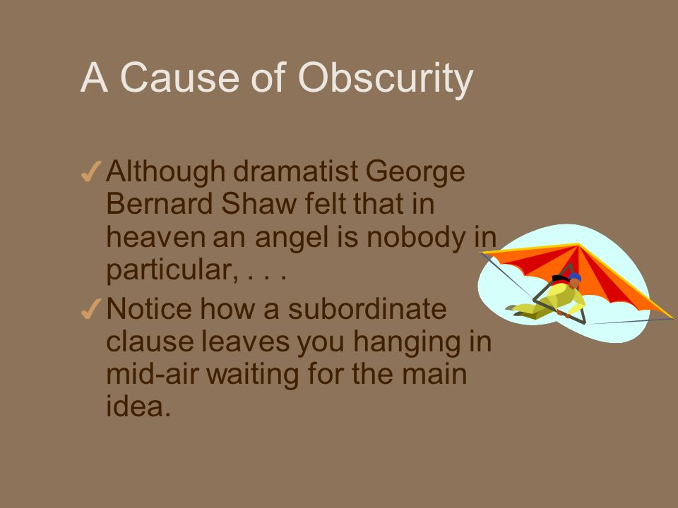 A Cause of Obscurity 4 Although dramatist George Bernard Shaw felt that in heaven an angel is nobody in particular,...