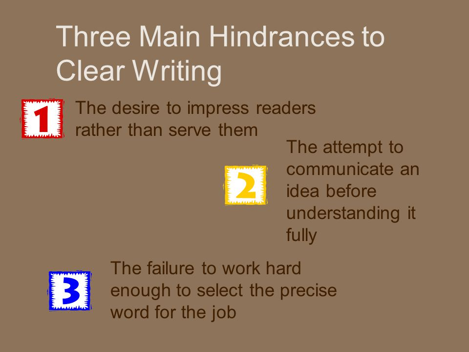 Three Main Hindrances to Clear Writing The desire to impress readers rather than serve them The attempt to communicate an idea before understanding it fully The failure to work hard enough to select the precise word for the job