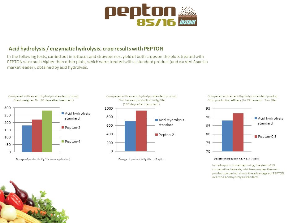 Acid hydrolysis / enzymatic hydrolysis, crop results with PEPTON Compared with an acid hydrolysis standard product Plant weigh en Gr. (10 days after t