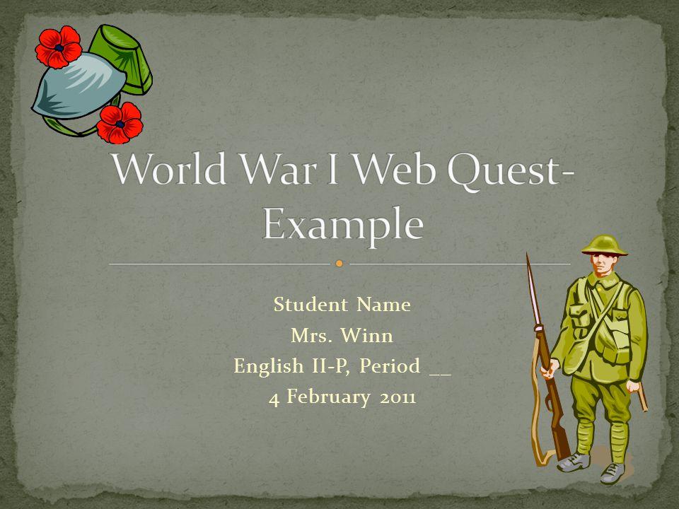 Student Name Mrs. Winn English II-P, Period __ 4 February 2011