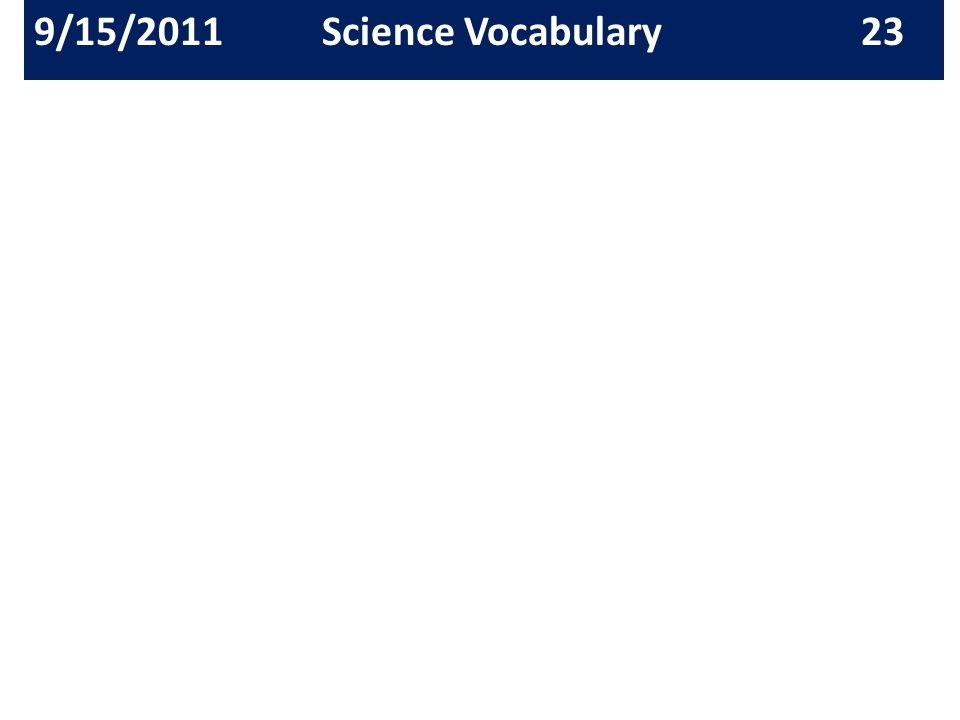 9/15/2011Science Vocabulary 23