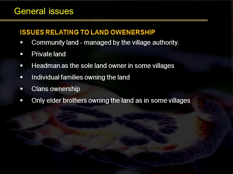General issues ISSUES RELATING TO LAND OWENERSHIP Community land - managed by the village authority. Community land - managed by the village authority