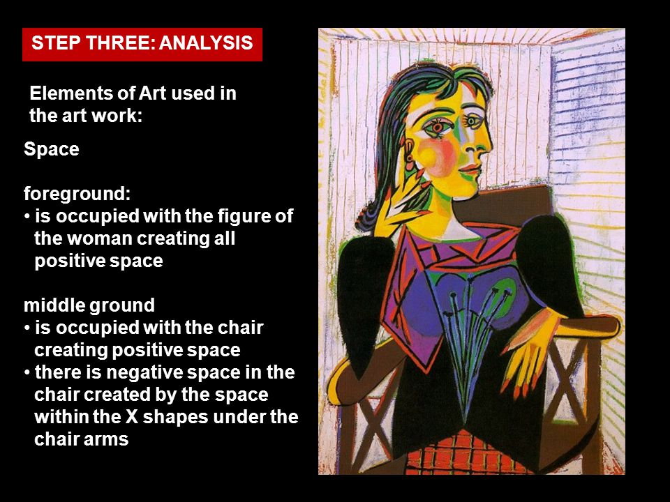 Elements of Art used in the art work: STEP THREE: ANALYSIS Space foreground: is occupied with the figure of the woman creating all positive space midd