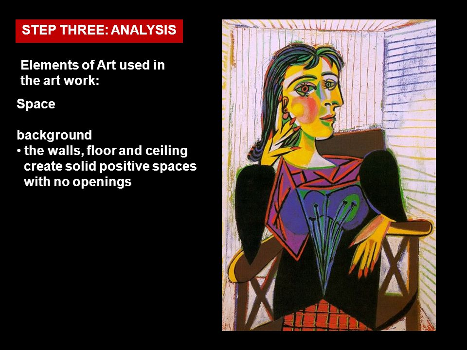 Elements of Art used in the art work: Space background the walls, floor and ceiling create solid positive spaces with no openings STEP THREE: ANALYSIS