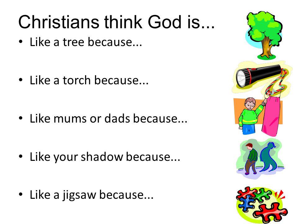 Like a tree because... Like a torch because... Like mums or dads because... Like your shadow because... Like a jigsaw because... Christians think God