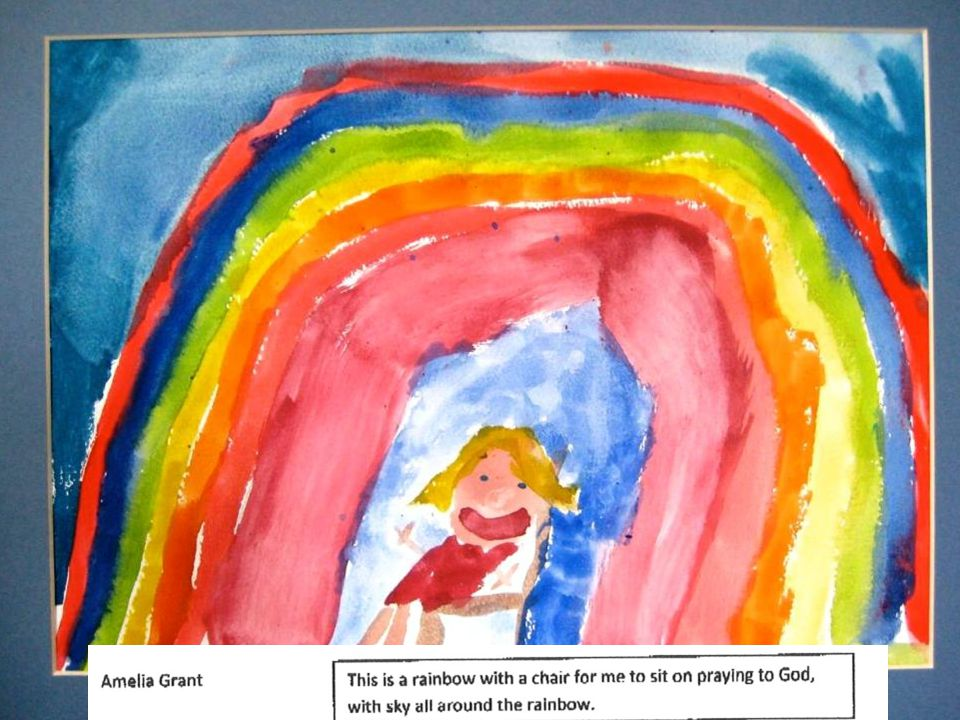 Ethan is 6 In his picture, he shows his idea about searching for God:Up in heaven there is God.