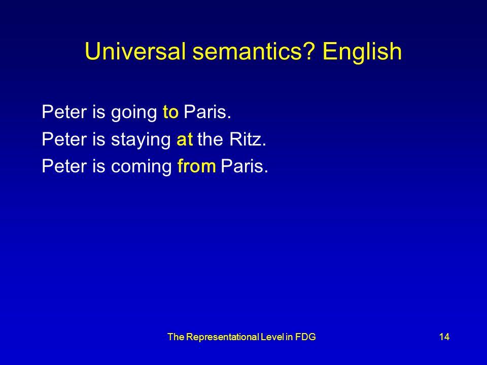 The Representational Level in FDG14 Universal semantics.