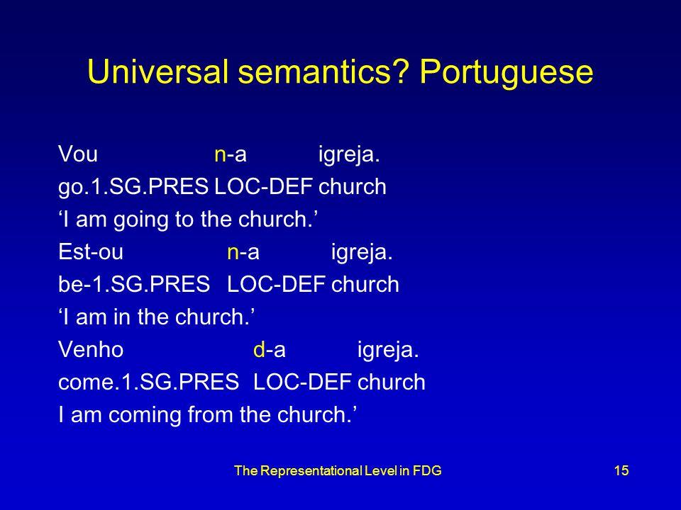 The Representational Level in FDG15 Universal semantics.