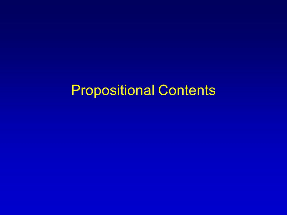 Propositional Contents