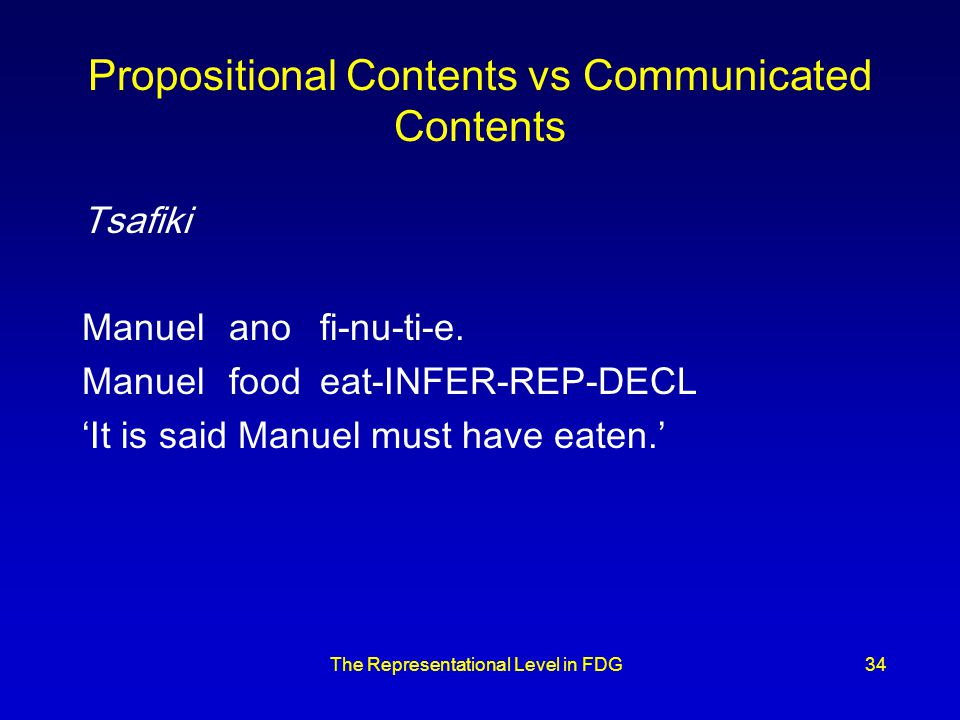 The Representational Level in FDG34 Propositional Contents vs Communicated Contents Tsafiki Manuelanofi-nu-ti-e.