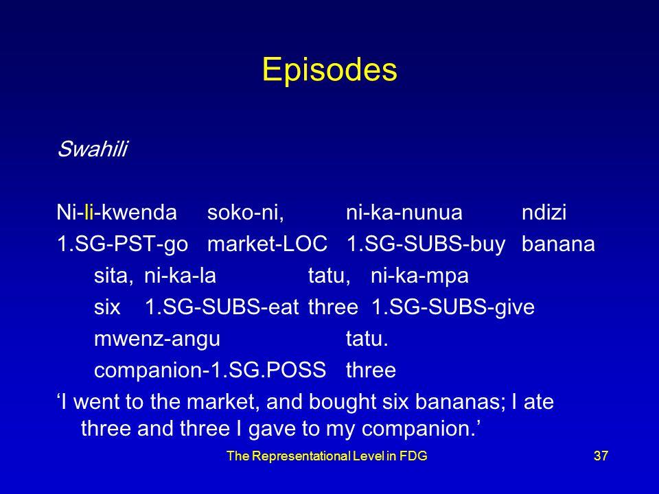The Representational Level in FDG37 Episodes Swahili Ni-li-kwendasoko-ni,ni-ka-nunuandizi 1.SG-PST-gomarket-LOC1.SG-SUBS-buybanana sita,ni-ka-latatu,ni-ka-mpa six1.SG-SUBS-eatthree1.SG-SUBS-give mwenz-angutatu.