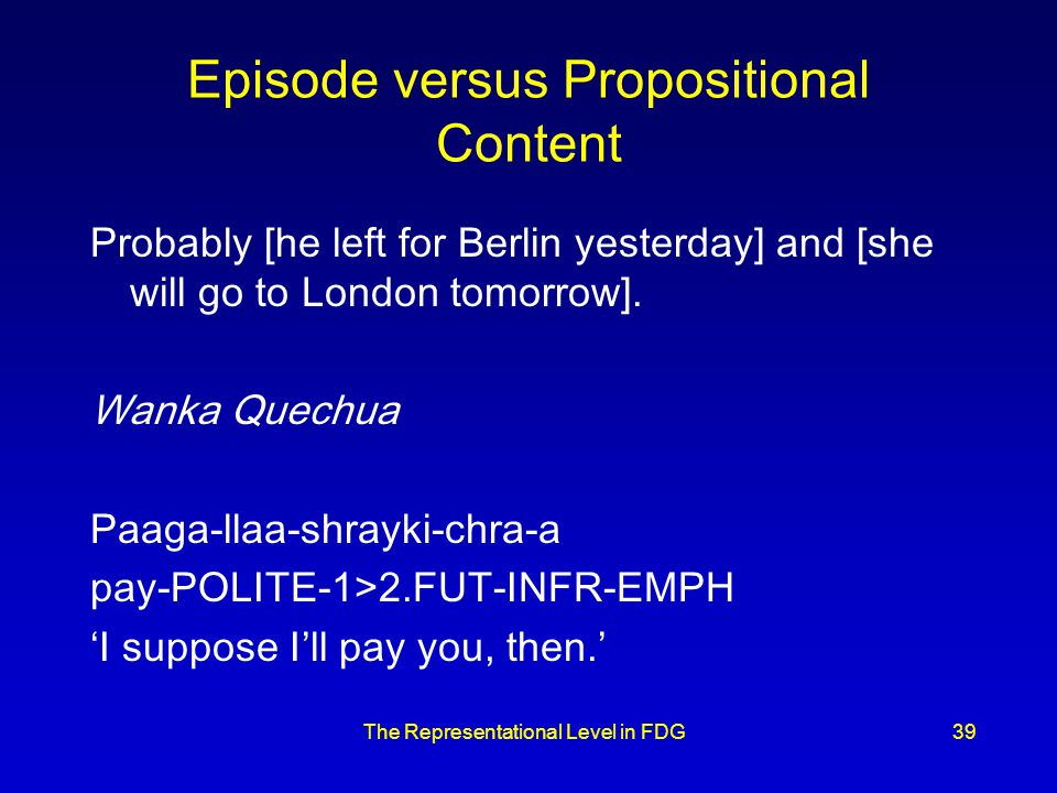 The Representational Level in FDG39 Episode versus Propositional Content Probably [he left for Berlin yesterday] and [she will go to London tomorrow].