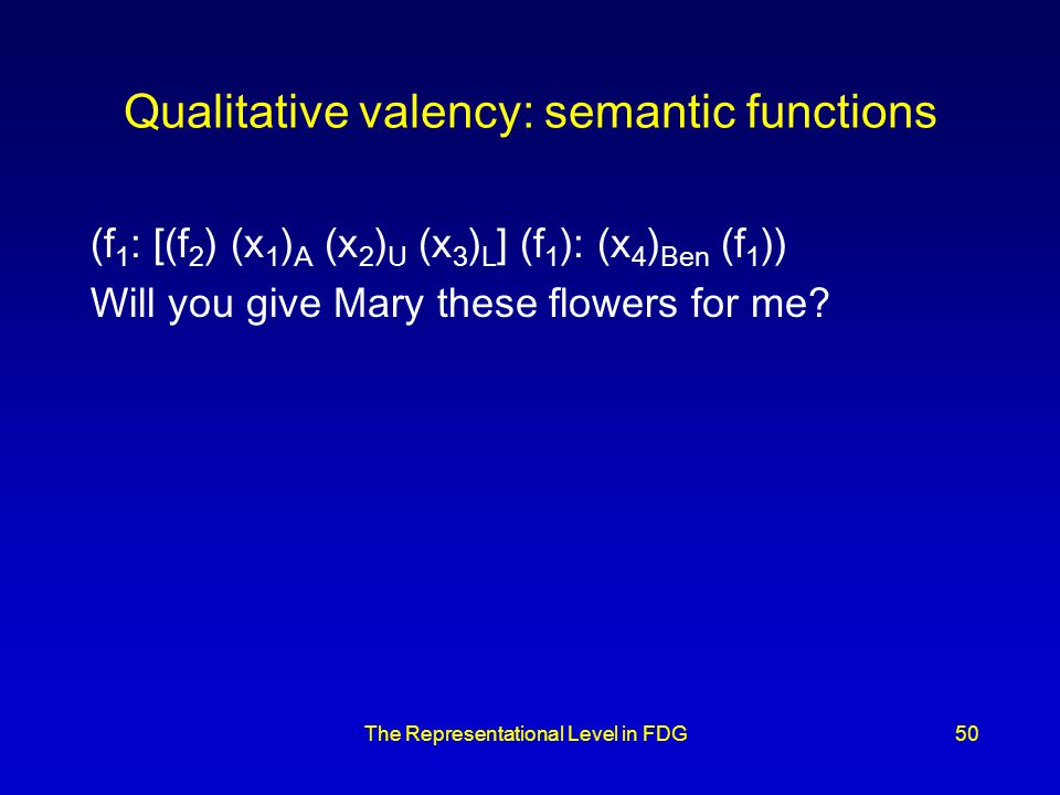 The Representational Level in FDG50 Qualitative valency: semantic functions (f 1 : [(f 2 ) (x 1 ) A (x 2 ) U (x 3 ) L ] (f 1 ): (x 4 ) Ben (f 1 )) Will you give Mary these flowers for me