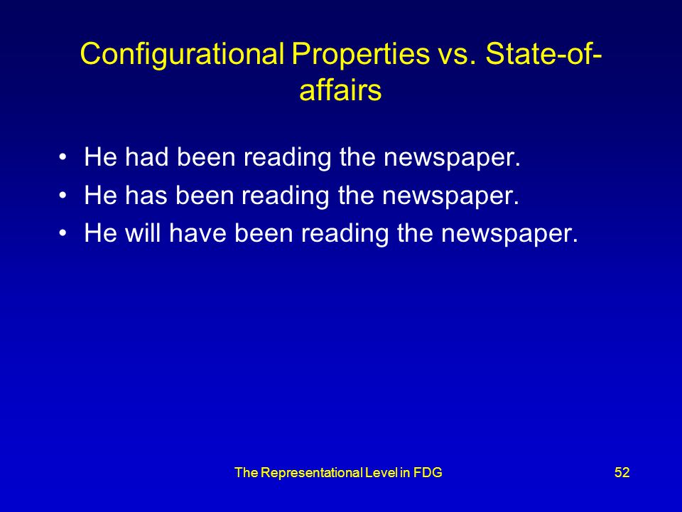 The Representational Level in FDG52 Configurational Properties vs.
