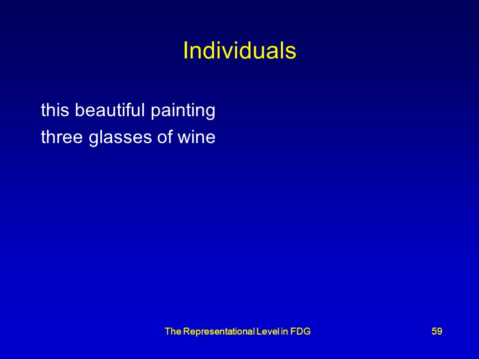 The Representational Level in FDG59 Individuals this beautiful painting three glasses of wine