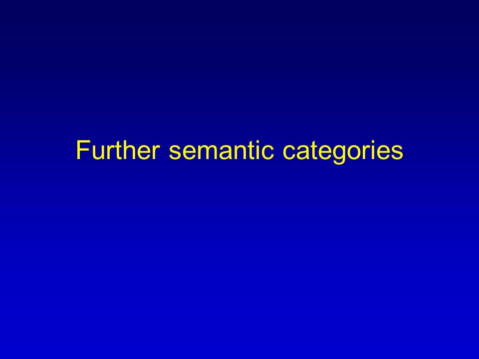 Further semantic categories