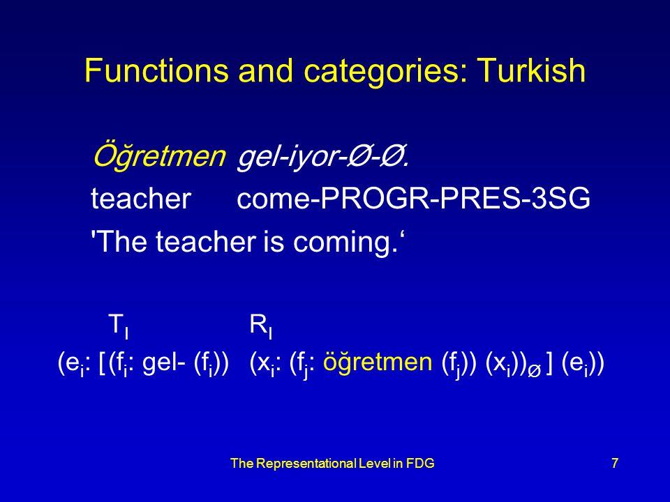 The Representational Level in FDG7 Functions and categories: Turkish Öğretmengel-iyor-Ø-Ø.