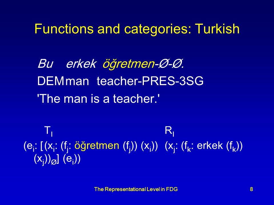The Representational Level in FDG8 Functions and categories: Turkish Bu erkeköğretmen-Ø-Ø.