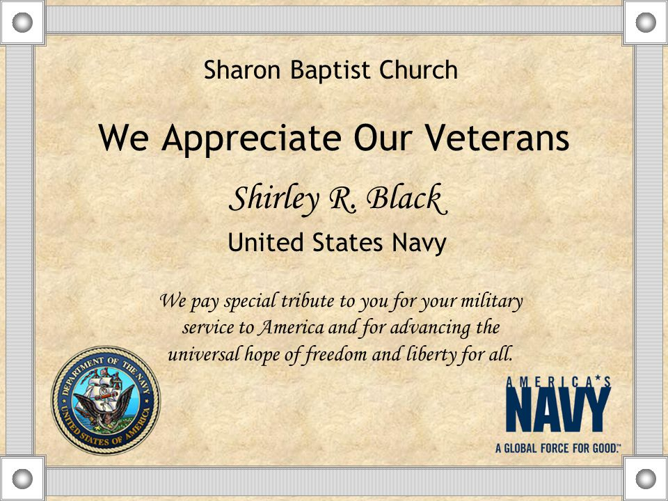We Appreciate Our Veterans Shirley R.
