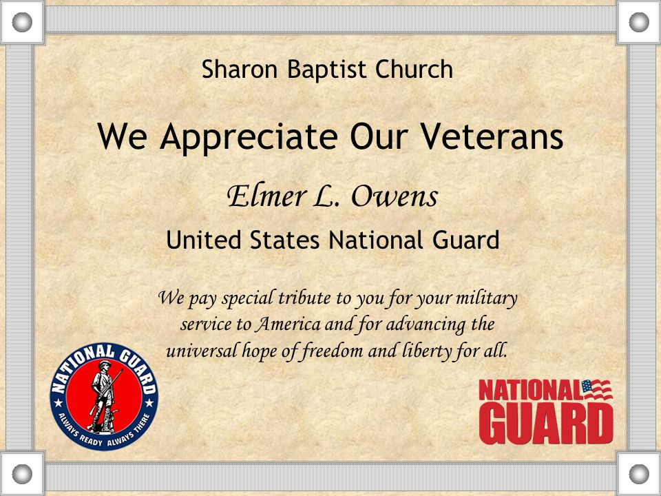 We Appreciate Our Veterans Elmer L.