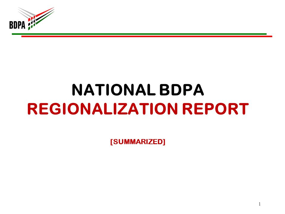 Regionalization Background 2006 –NBOD charged Founder to solicit consultant(s) for the purpose of improving BDPA efficiency and improve services to its members and stakeholders (BDPA paid for this service!) 2007 – Founder presented committees report to NBOD; NBOD approved report and charged committee to move forward 2008 – 2009 – No activity by NBOD Nov 2009 –NBOD voted to include the new regional structure within its overall 2010-2014 strategy July 2010 – Chapter Delegates approved new Bylaws which included The Regional Model in Philadelphia, PA 2