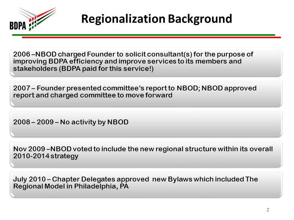 Regionalization Background 2006 –NBOD charged Founder to solicit consultant(s) for the purpose of improving BDPA efficiency and improve services to its members and stakeholders (BDPA paid for this service!) 2007 – Founder presented committees report to NBOD; NBOD approved report and charged committee to move forward 2008 – 2009 – No activity by NBOD Nov 2009 –NBOD voted to include the new regional structure within its overall strategy July 2010 – Chapter Delegates approved new Bylaws which included The Regional Model in Philadelphia, PA 2