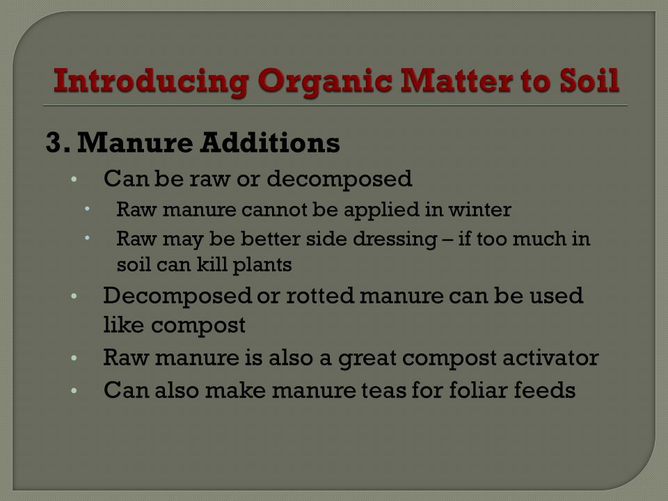 3. Manure Additions Can be raw or decomposed Raw manure cannot be applied in winter Raw may be better side dressing – if too much in soil can kill pla
