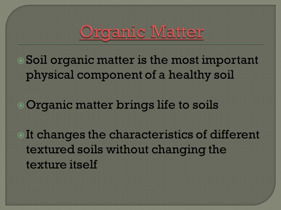 Soil organic matter is the most important physical component of a healthy soil Organic matter brings life to soils It changes the characteristics of d