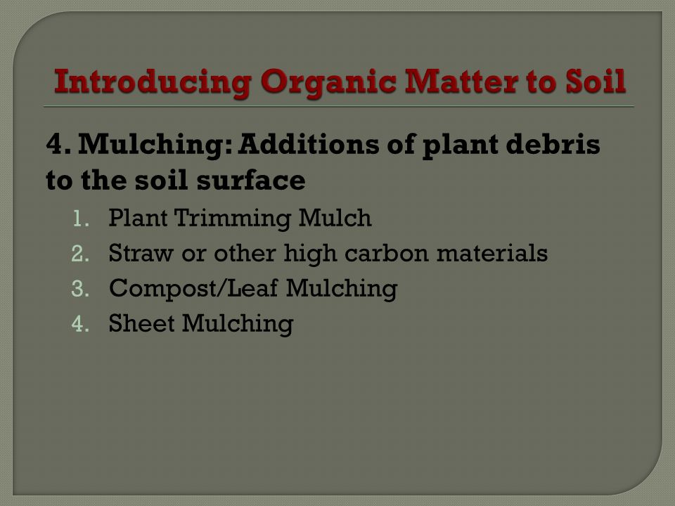 4. Mulching: Additions of plant debris to the soil surface 1. Plant Trimming Mulch 2. Straw or other high carbon materials 3. Compost/Leaf Mulching 4.