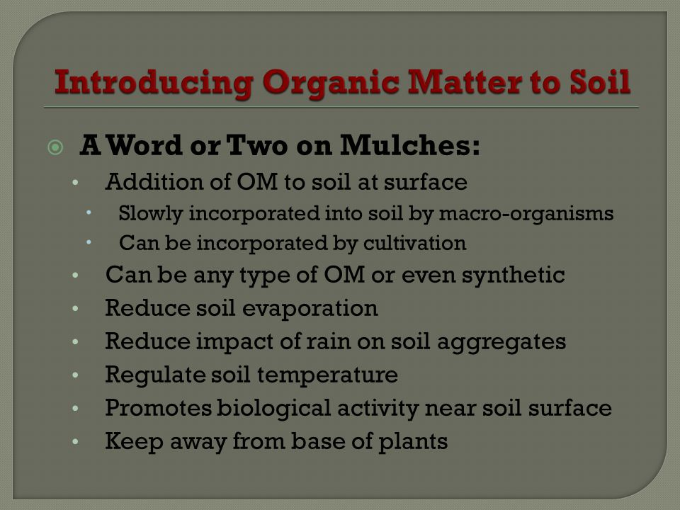 A Word or Two on Mulches: Addition of OM to soil at surface Slowly incorporated into soil by macro-organisms Can be incorporated by cultivation Can be