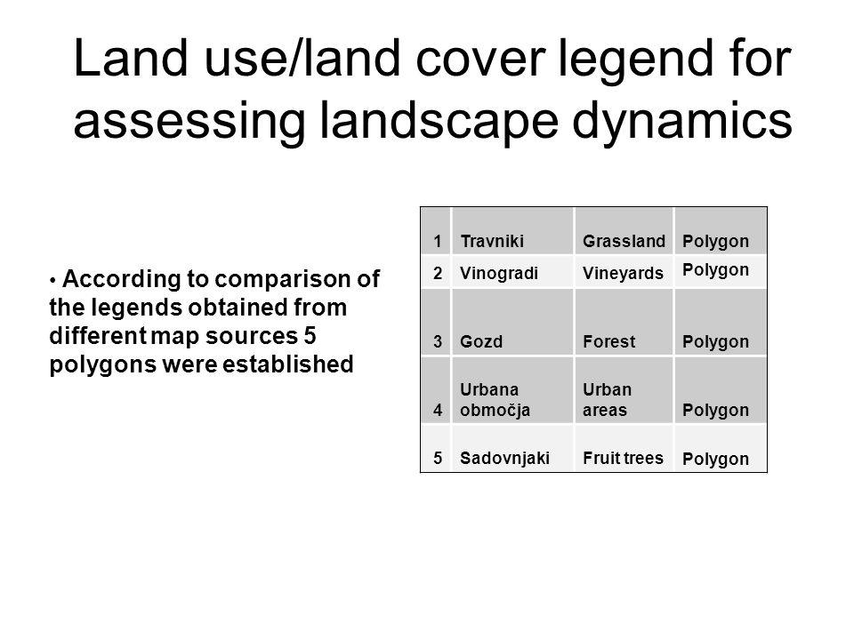 Land use/land cover legend for assessing landscape dynamics 1TravnikiGrassland Polygon 2VinogradiVineyards Polygon 3GozdForest Polygon 4 Urbana območj