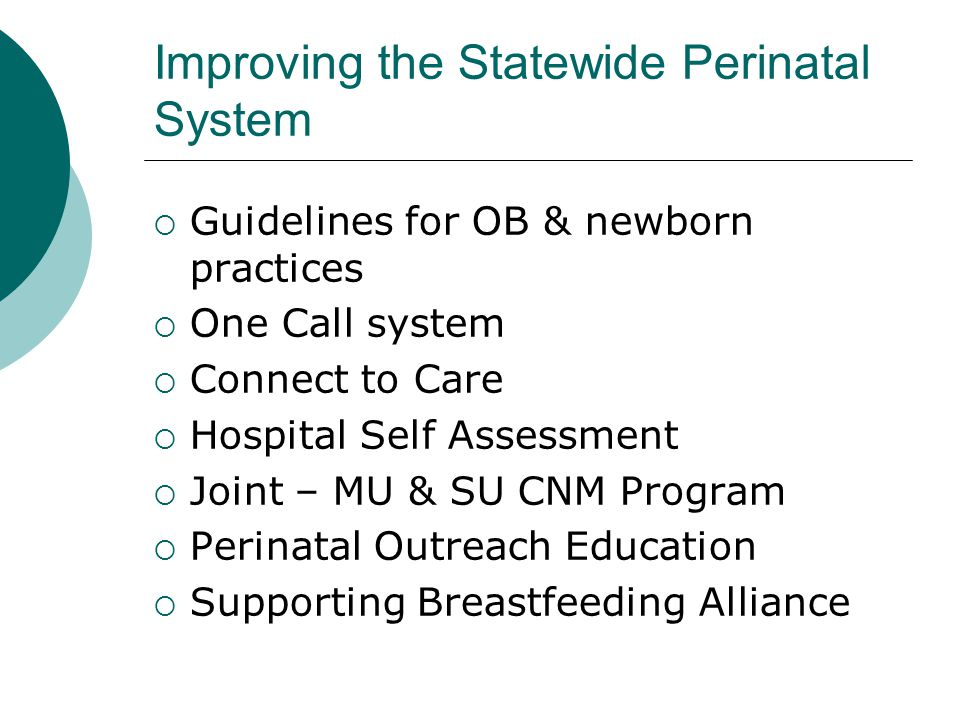 Improving the Statewide Perinatal System Guidelines for OB & newborn practices One Call system Connect to Care Hospital Self Assessment Joint – MU & SU CNM Program Perinatal Outreach Education Supporting Breastfeeding Alliance