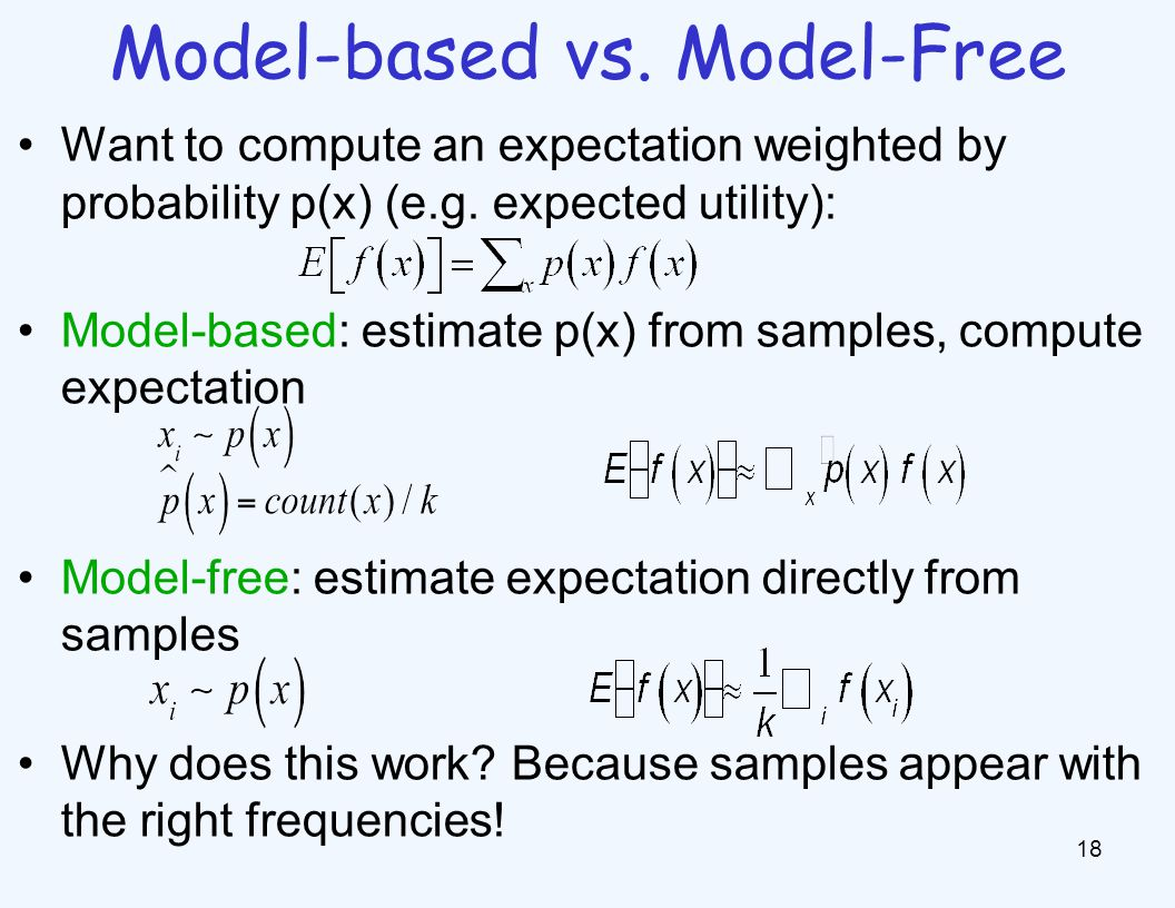 Model-based vs. Model-Free 18 Want to compute an expectation weighted by probability p(x) (e.g.