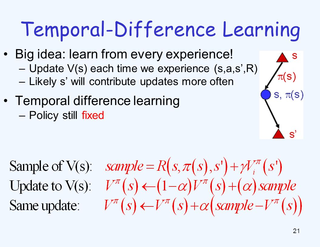 Temporal-Difference Learning 21 Big idea: learn from every experience.