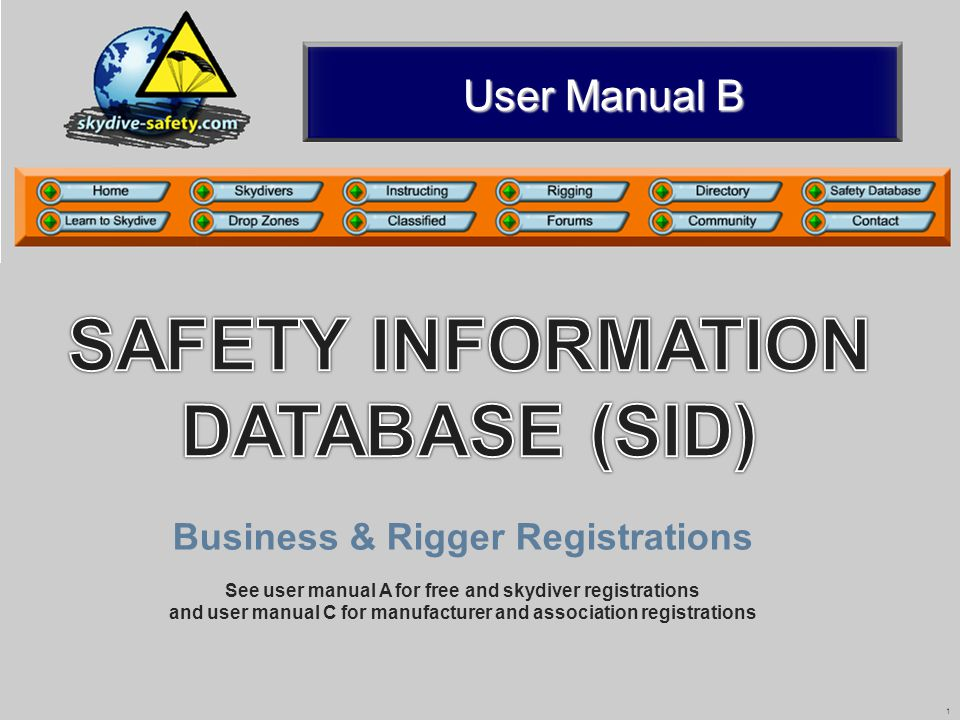 2 Contents 2 SID A (Rev04 01/09) Registration5 Registration5 Using the safety information database Switchboard7 Switchboard7 Add equipment details8 Add equipment details8 Search for safety information9 Search for safety information9 Search Results 11 Search Results 11 Viewing safety information12 Viewing safety information12 Logging In6 Logging In6 Introduction3 Introduction3 Summary18 Summary18 Advanced search Search options13 Search options13 Search results Riggers study guide16 Riggers study guide16