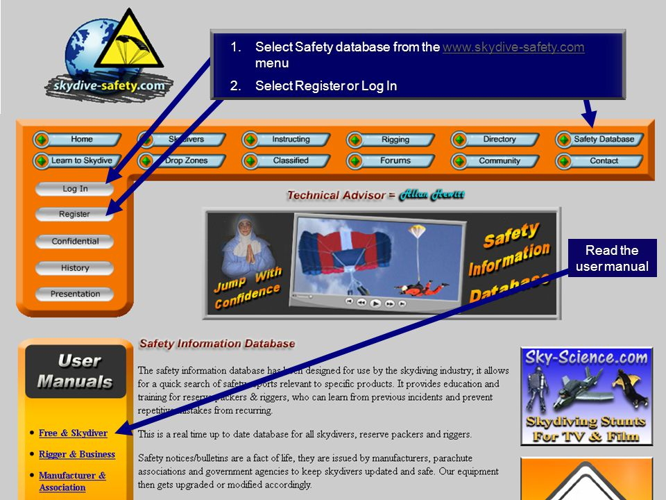 4 1.Select Safety database from the   menu   2.Select Register or Log In User Manual A(Rev05 12/2010) Read the user manual