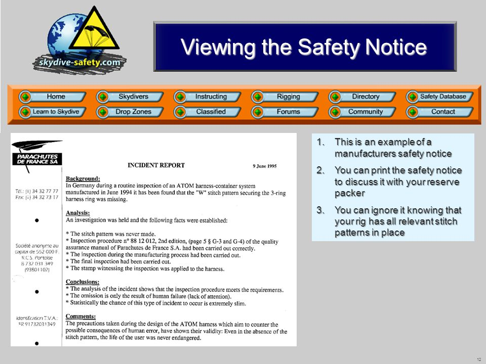 12 Viewing the Safety Notice 1.This is an example of a manufacturers safety notice 2.You can print the safety notice to discuss it with your reserve p