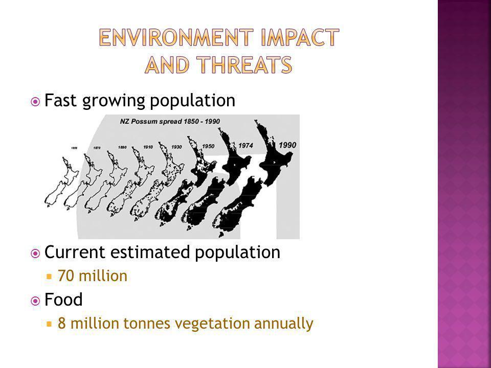 Fast growing population Current estimated population 70 million Food 8 million tonnes vegetation annually