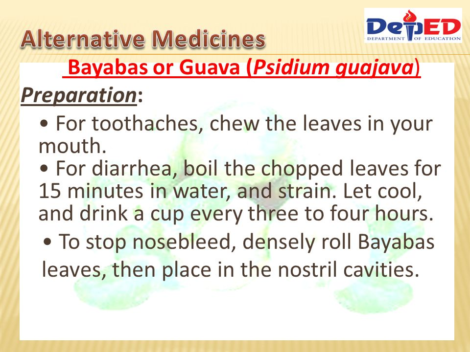 Bayabas or Guava (Psidium guajava) Preparation: For toothaches, chew the leaves in your mouth. For diarrhea, boil the chopped leaves for 15 minutes in