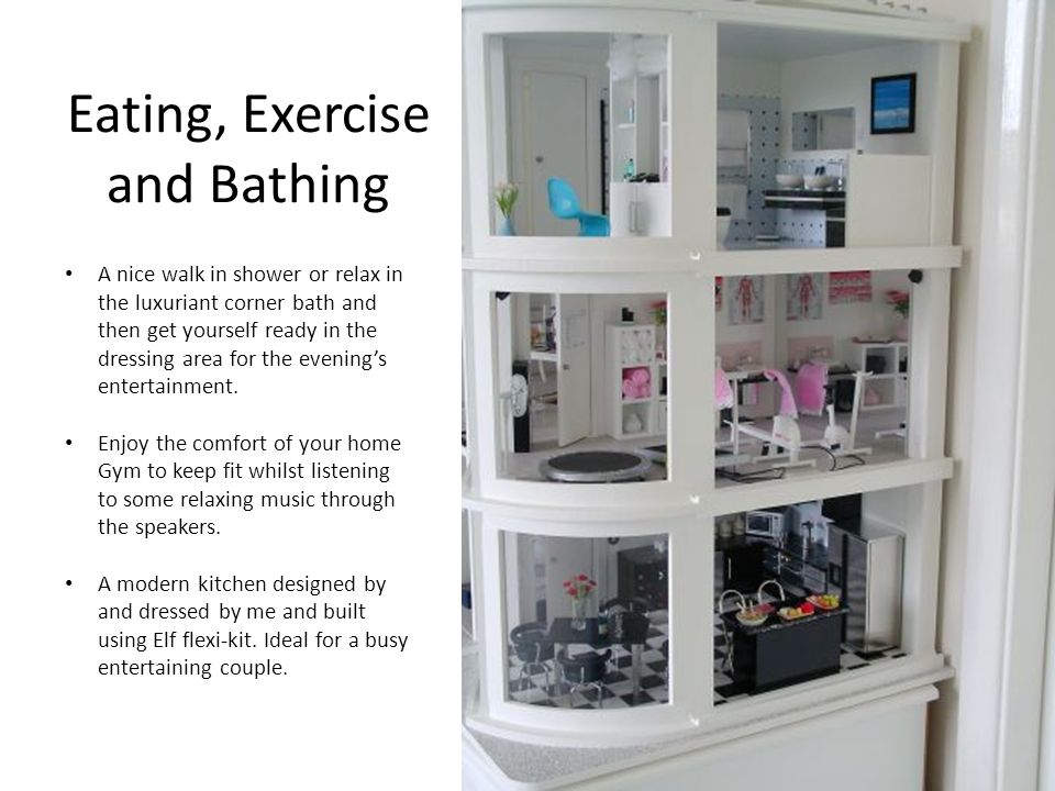 Eating, Exercise and Bathing A nice walk in shower or relax in the luxuriant corner bath and then get yourself ready in the dressing area for the evenings entertainment.