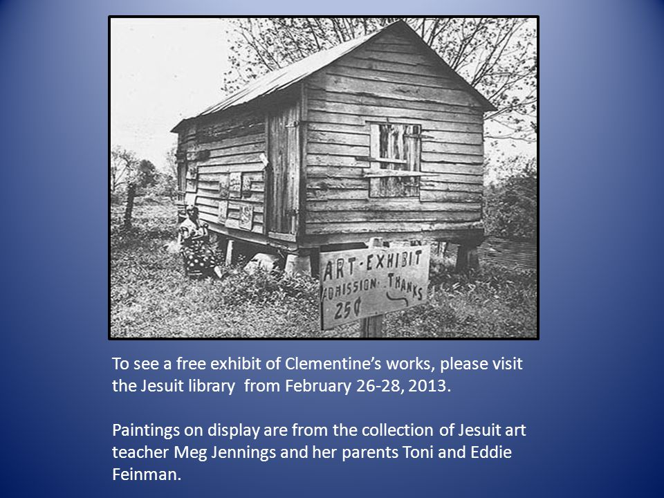 To see a free exhibit of Clementines works, please visit the Jesuit library from February 26-28, 2013.