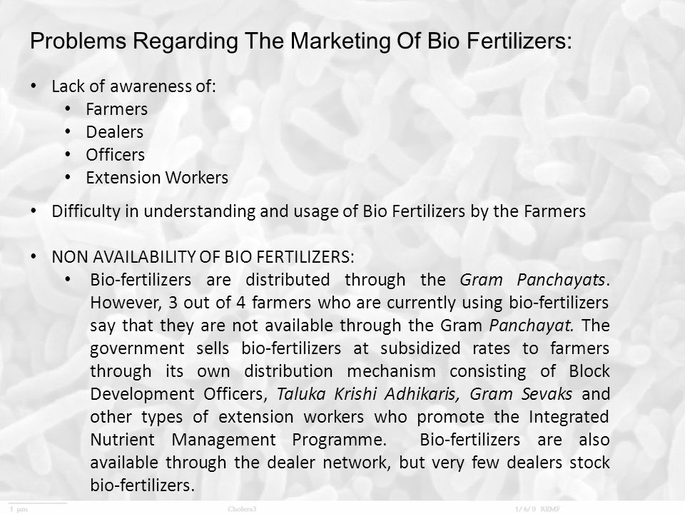 Problems Regarding The Marketing Of Bio Fertilizers: Lack of awareness of: Farmers Dealers Officers Extension Workers Difficulty in understanding and