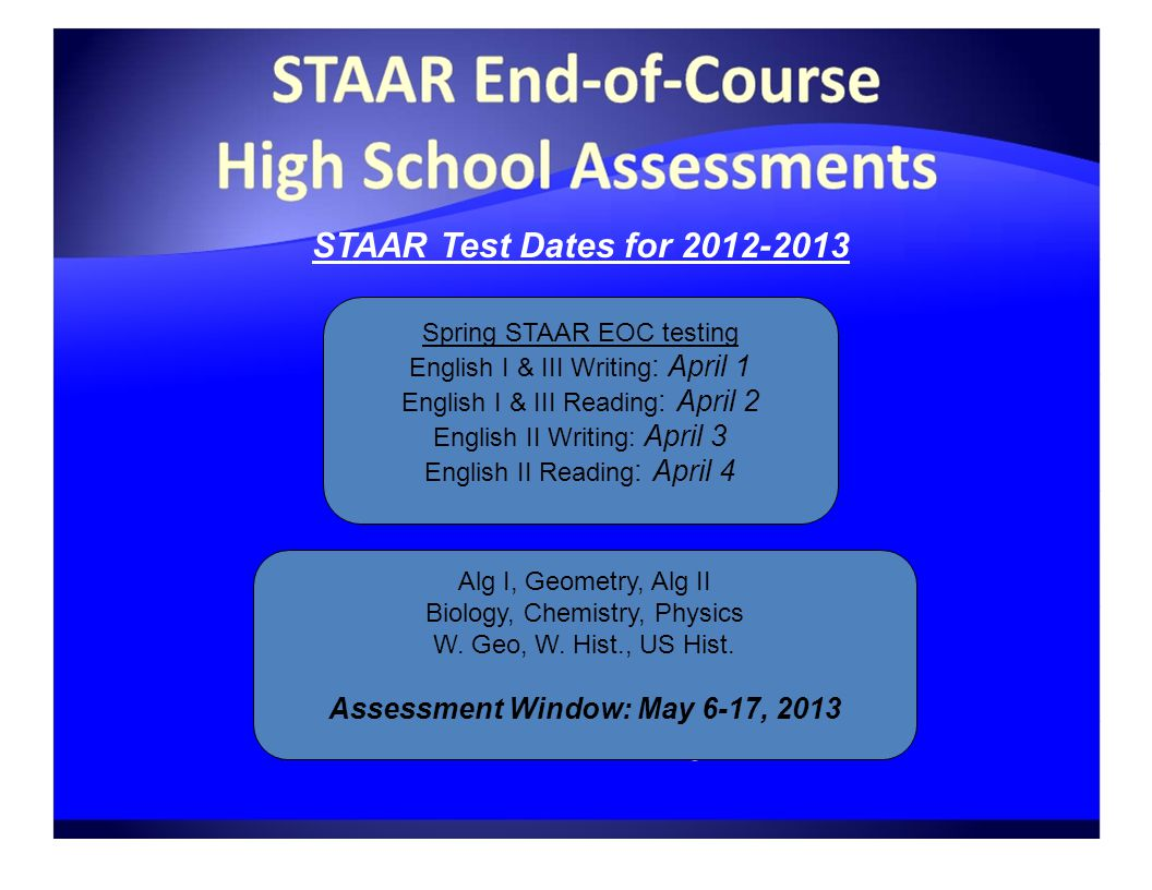 STAAR Test Dates for Spring STAAR EOC testing English I & III Writing : April 1 English I & III Reading : April 2 English II Writing: April 3 English II Reading : April 4 Alg I, Geometry, Alg II Biology, Chemistry, Physics W.