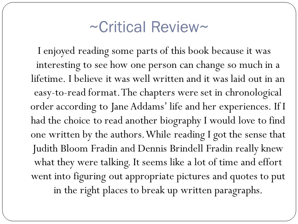~Critical Review~ I enjoyed reading some parts of this book because it was interesting to see how one person can change so much in a lifetime.