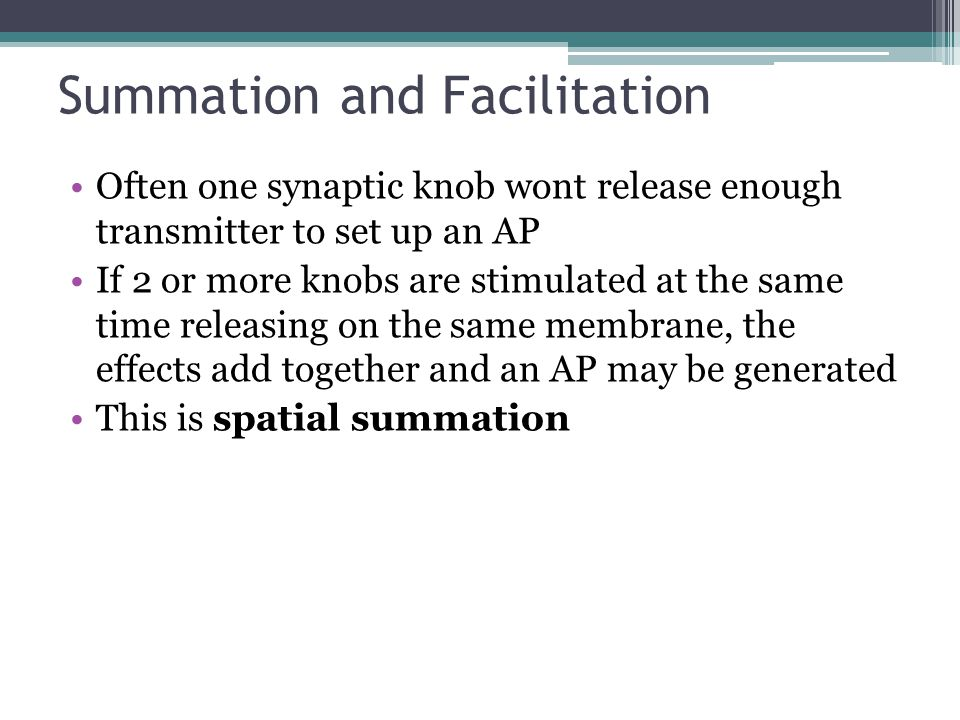 Summation and Facilitation Often one synaptic knob wont release enough transmitter to set up an AP If 2 or more knobs are stimulated at the same time